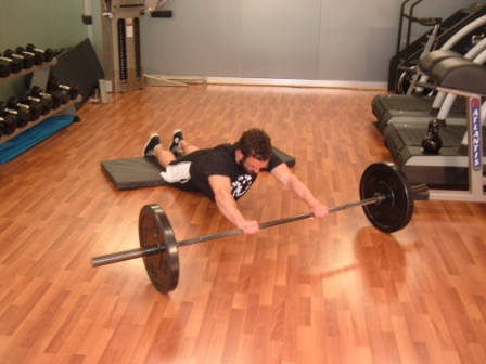 barbell ab exercise