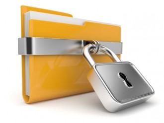 Yellow folder with lock
