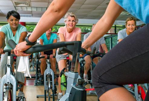 getty_rf_mature_senior_woman_in_bike_class