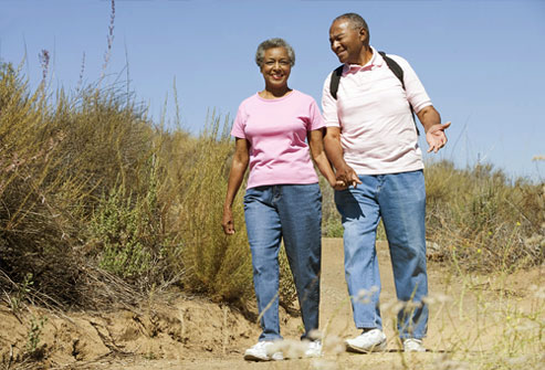 photolibrary_rf_mature_AfricanAmerican_couple_walking_on_beach