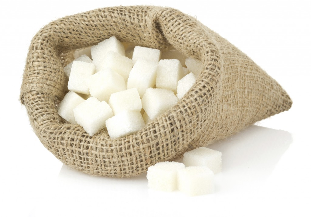 sugar cubes isolated on white