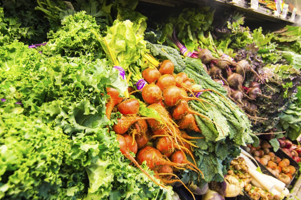 Display of fresh vegetables - Beets, turnips, lettuce