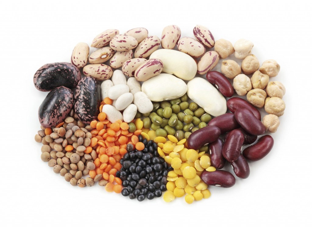 Group of beans and lentils