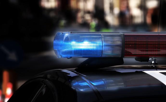 Blue flashing sirens of police car