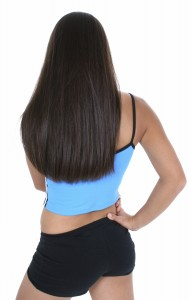 Back View Of A Teen Girl In Workout Clothes Over White. Shot with the Canon 20D.
