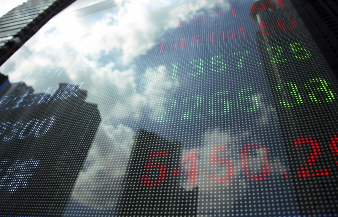Display of Stock market quotes in shanghai,China