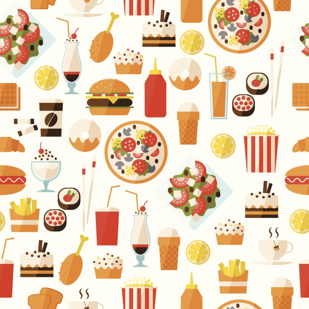 Seamless pattern with fast food and drink