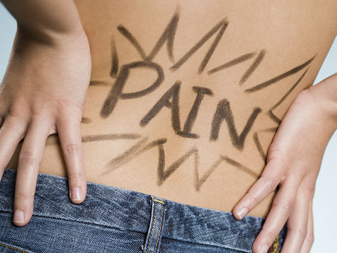 Rear view of woman with hands on lower back with Pain written on it