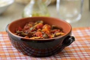 Ratatouille in a terracotta bowl