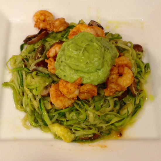 Dinner Tonight! Chili-Lime Shrimp with Avocado-Basil Zucchini Noodles & Mushrooms