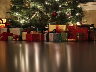 Presents under Christmas tree, surface level