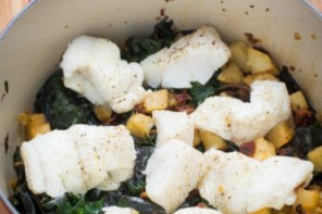 One-Pot Cod, Celery Root, and Chard Winter Casserole