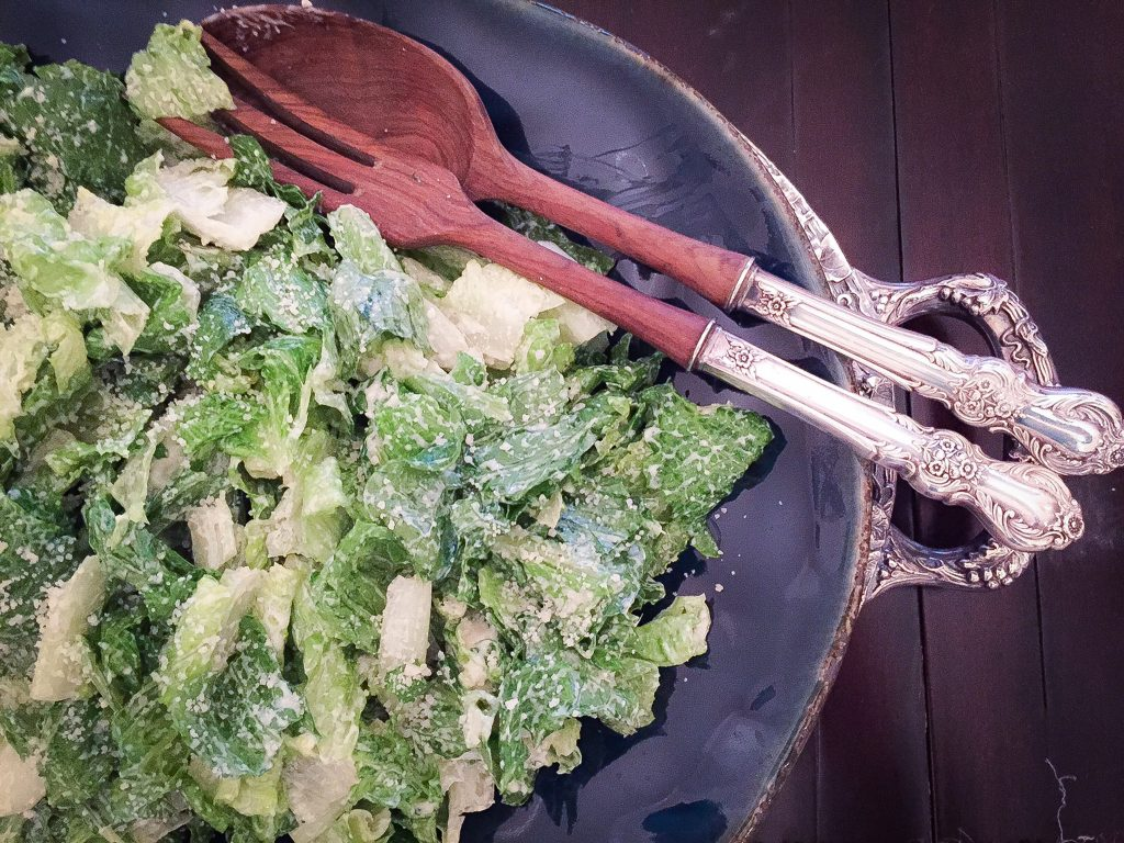 healthy caesar salad for a crowd