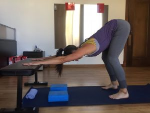 modified downward dog yoga pose