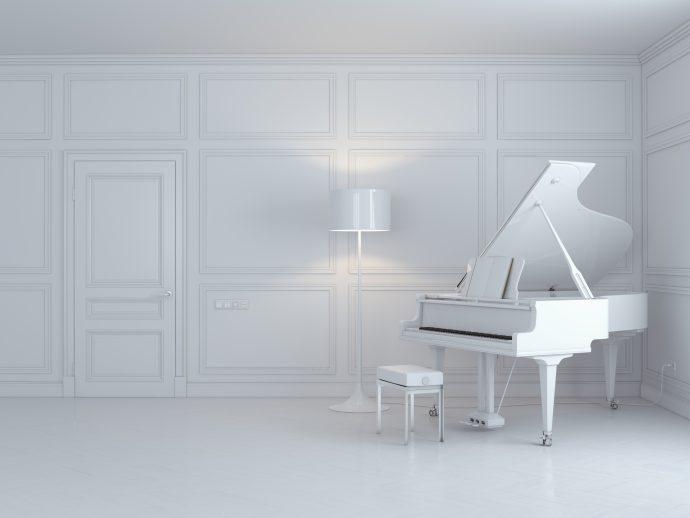 grand piano in white interior