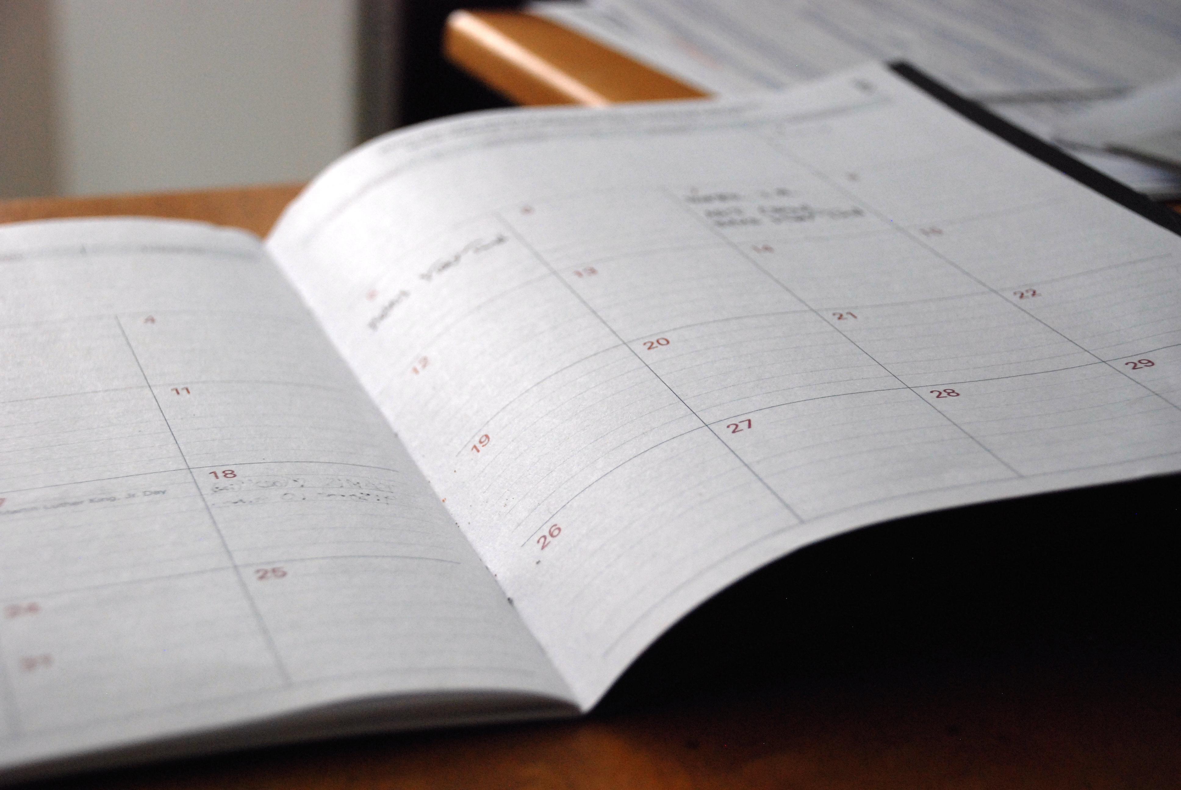 timetable of specific tasks